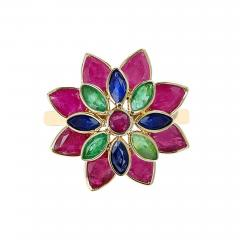 TRI COLOR RUBY EMERALD SAPPHIRE FLORAL RING 18K YELLOW GOLD - 2134287