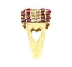 TRIANGULAR RUBY AND DIAMOND 14K YELLOW GOLD RING - 1939309