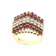 TRIANGULAR RUBY AND DIAMOND 14K YELLOW GOLD RING - 1940428