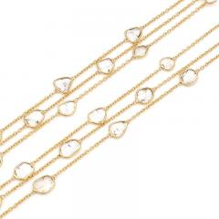 TRIPLE LAYER DIAMOND SLICES NECKLACE 18K YELLOW GOLD - 2077505