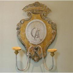 TUSCAN HAND PAINTED 2 LITE WALL SCONCES FROM SIENA ITALY - 797720