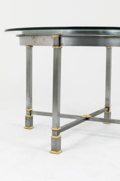 Table in brushed and gilt metal glass tray 1970s - 2124967