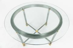 Table in brushed and gilt metal glass tray 1970s - 2124979