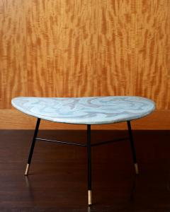 Table with Blue Green Ceramic Boomerang Shaped Top on 3 Black Metal Legs - 398471