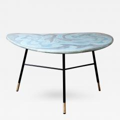 Table with Blue Green Ceramic Boomerang Shaped Top on 3 Black Metal Legs - 398750