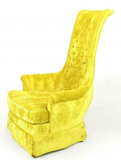Tall Back Sinuous Lounge Chairs in Gold Crushed Velvet Circa 1960s - 203576