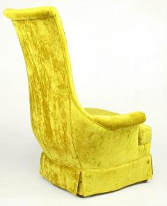 Tall Back Sinuous Lounge Chairs in Gold Crushed Velvet Circa 1960s - 203577