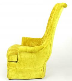 Tall Back Sinuous Lounge Chairs in Gold Crushed Velvet Circa 1960s - 203578