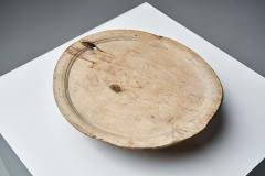 Tall Footed Wooden Plate Scandinavia 18th century - 2041249
