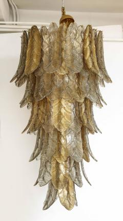 Tall Metallic Gold and Smoked Taupe Murano Glass Leaf Chandelier Italy 2021 - 1998577