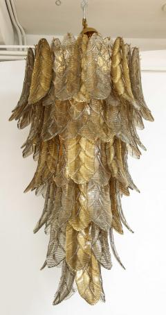 Tall Metallic Gold and Smoked Taupe Murano Glass Leaf Chandelier Italy 2021 - 1998578