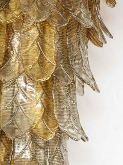 Tall Metallic Gold and Smoked Taupe Murano Glass Leaf Chandelier Italy 2021 - 1998579