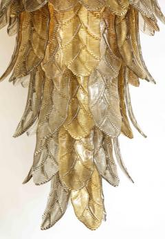 Tall Metallic Gold and Smoked Taupe Murano Glass Leaf Chandelier Italy 2021 - 1998580