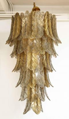 Tall Metallic Gold and Smoked Taupe Murano Glass Leaf Chandelier Italy 2021 - 1998581