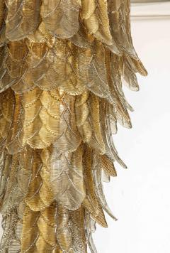 Tall Metallic Gold and Smoked Taupe Murano Glass Leaf Chandelier Italy 2021 - 1998582