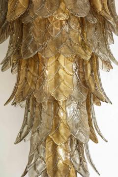 Tall Metallic Gold and Smoked Taupe Murano Glass Leaf Chandelier Italy 2021 - 1998583