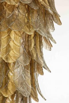 Tall Metallic Gold and Smoked Taupe Murano Glass Leaf Chandelier Italy 2021 - 1998585