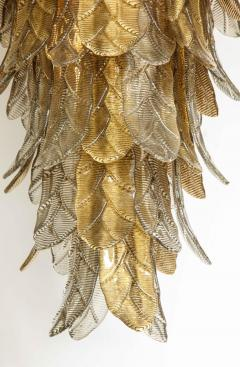 Tall Metallic Gold and Smoked Taupe Murano Glass Leaf Chandelier Italy 2021 - 1998586