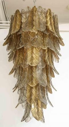 Tall Metallic Gold and Smoked Taupe Murano Glass Leaf Chandelier Italy 2021 - 1998587