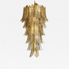 Tall Metallic Gold and Smoked Taupe Murano Glass Leaf Chandelier Italy 2021 - 2002400