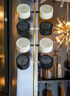 Tall Midcentury Marble Brass Metal and Plexiglass Six Lights Floor Lamp - 717703