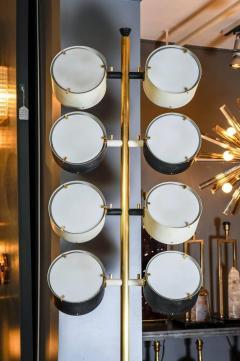 Tall Midcentury Marble Brass Metal and Plexiglass Six Lights Floor Lamp - 717704