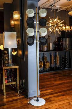 Tall Midcentury Marble Brass Metal and Plexiglass Six Lights Floor Lamp - 717705