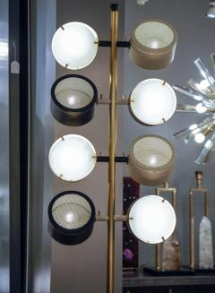 Tall Midcentury Marble Brass Metal and Plexiglass Six Lights Floor Lamp - 717707