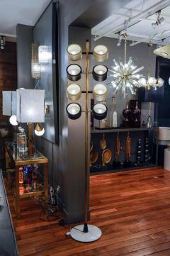 Tall Midcentury Marble Brass Metal and Plexiglass Six Lights Floor Lamp - 717708