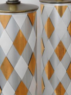 Tall Pair of American 1960s Cylindrical form Harlequin Cased Glass Lamps - 1828367