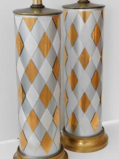 Tall Pair of American 1960s Cylindrical form Harlequin Cased Glass Lamps - 1828368