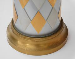 Tall Pair of American 1960s Cylindrical form Harlequin Cased Glass Lamps - 1828369