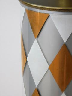 Tall Pair of American 1960s Cylindrical form Harlequin Cased Glass Lamps - 1828370