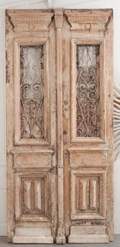 Tall Pair of Napoleon III Style Painted Pine and Iron Exterior Doors - 925273