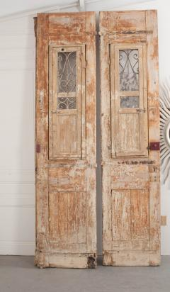 Tall Pair of Napoleon III Style Painted Pine and Iron Exterior Doors - 925279