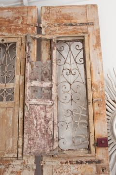 Tall Pair of Napoleon III Style Painted Pine and Iron Exterior Doors - 925280