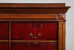 Tall oak cartonnier cabinet - 1388096