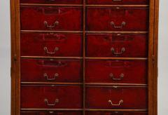 Tall oak cartonnier cabinet - 1388097