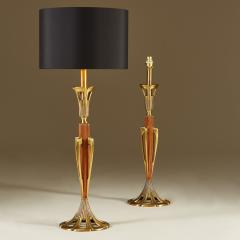 Tall pair of American wood and brass table lamps - 1964461