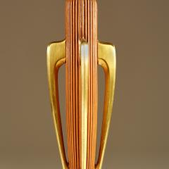 Tall pair of American wood and brass table lamps - 1964481