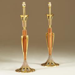 Tall pair of American wood and brass table lamps - 1964487