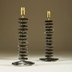 Tall pair of Italian Murano black glass Pebble lamps - 1923131