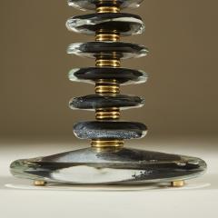Tall pair of Italian Murano black glass Pebble lamps - 1923152