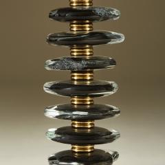Tall pair of Italian Murano black glass Pebble lamps - 1923154