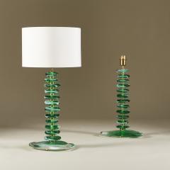 Tall pair of Italian Murano green glass Pebble lamps - 1842732