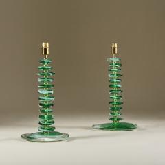 Tall pair of Italian Murano green glass Pebble lamps - 1842742