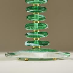Tall pair of Italian Murano green glass Pebble lamps - 1842747