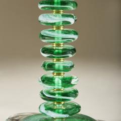 Tall pair of Italian Murano green glass Pebble lamps - 1842752