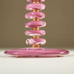 Tall pair of Italian Murano pink purple glass Pebble lamps - 1923142