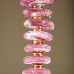 Tall pair of Italian Murano pink purple glass Pebble lamps - 1923146